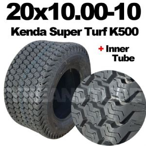 20x10.00-10 MOWER TYRE & TUBE SET KENDA K500 SUPER TURF.